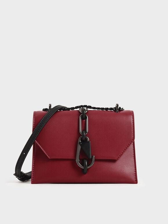 Metallic Accent Crossbody Bag, Red, hi-res