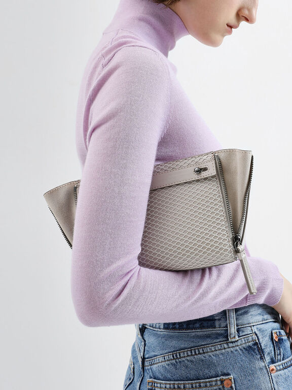 Rectangle Mesh Crossbody Bag, Cream