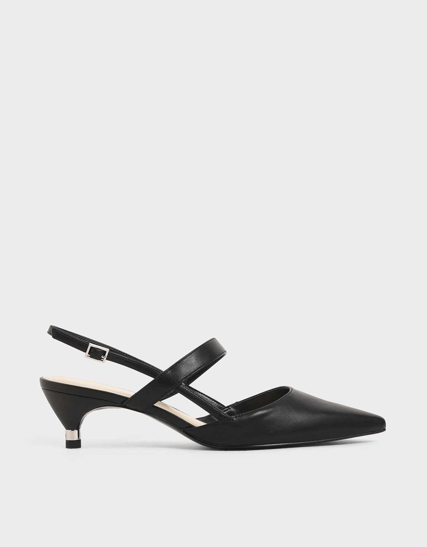 Black Slingback Kitten Heel Pumps