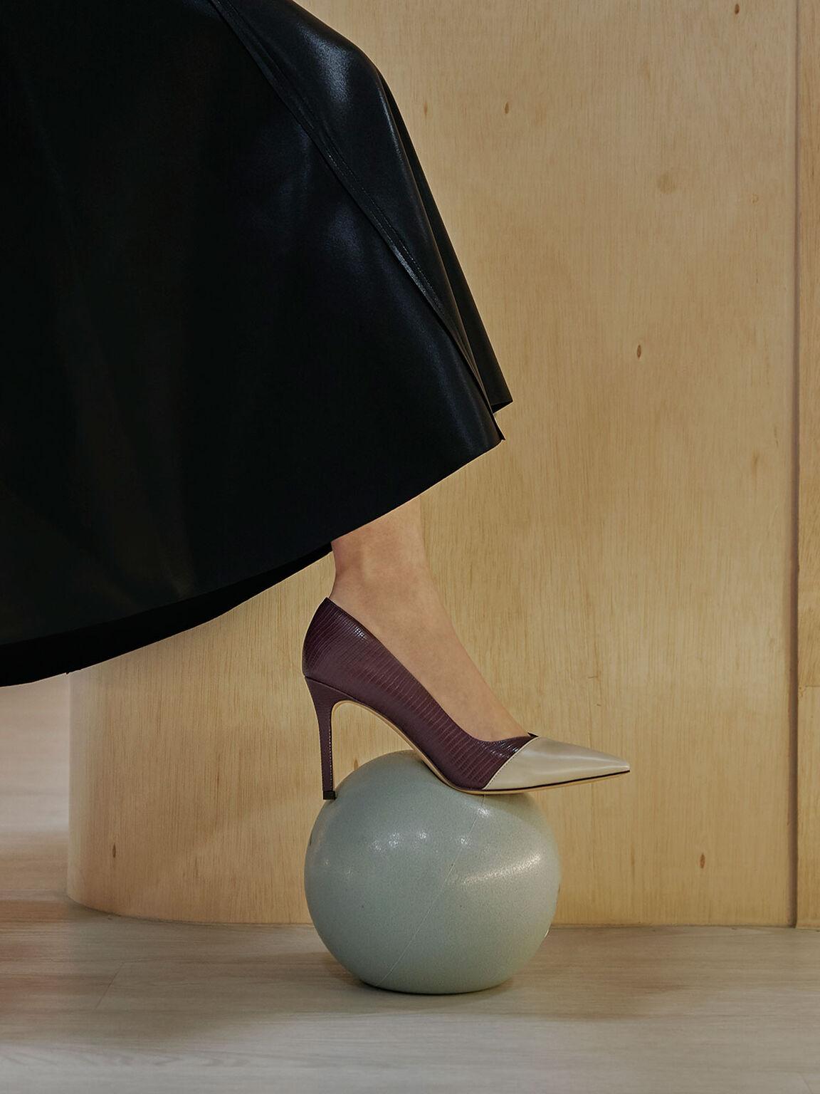 拼色尖頭高跟鞋, 咖啡色動物紋, hi-res