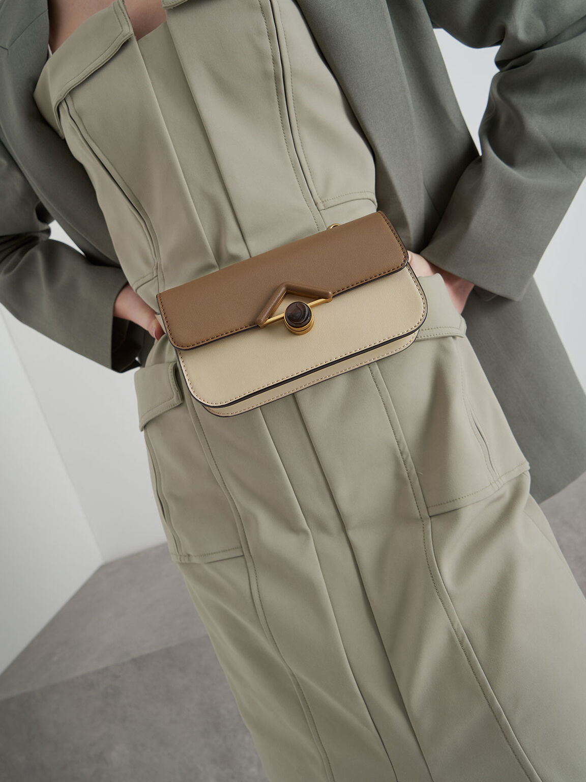Stone-Embellished Crossbody Bag, Khaki, hi-res