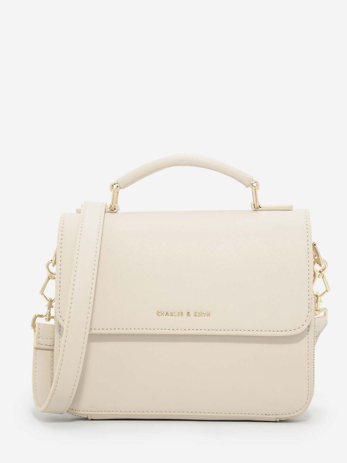Basic Front Flap Crossbody Bag, Ivory, hi-res