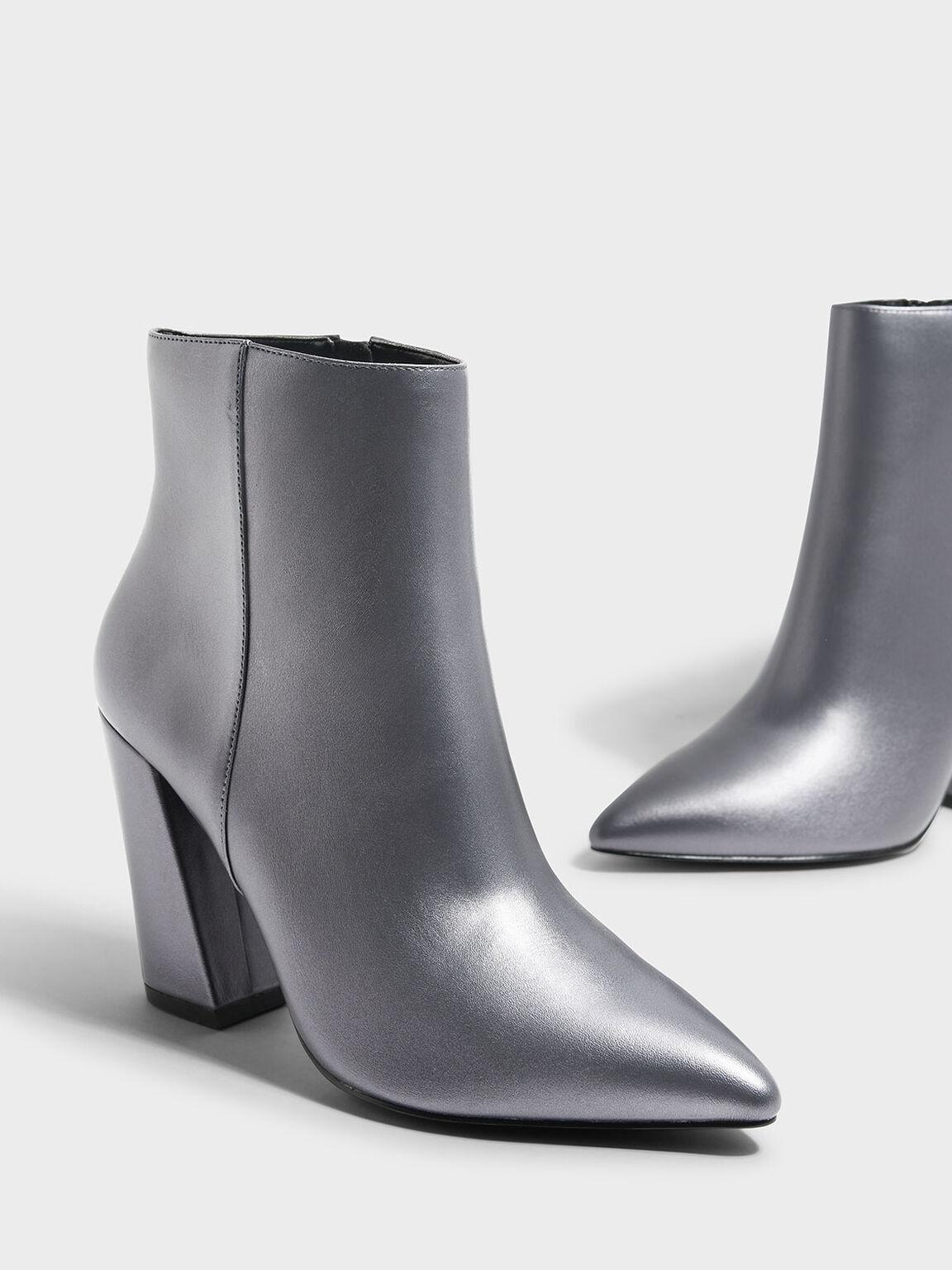 Slanted Block Heel Boots, Pewter, hi-res