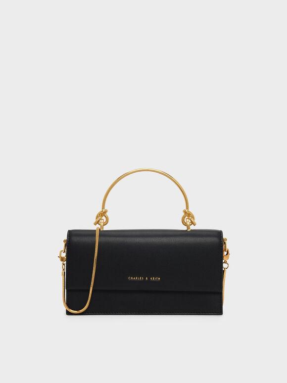 Metallic Handle Long Wallet, Black, hi-res