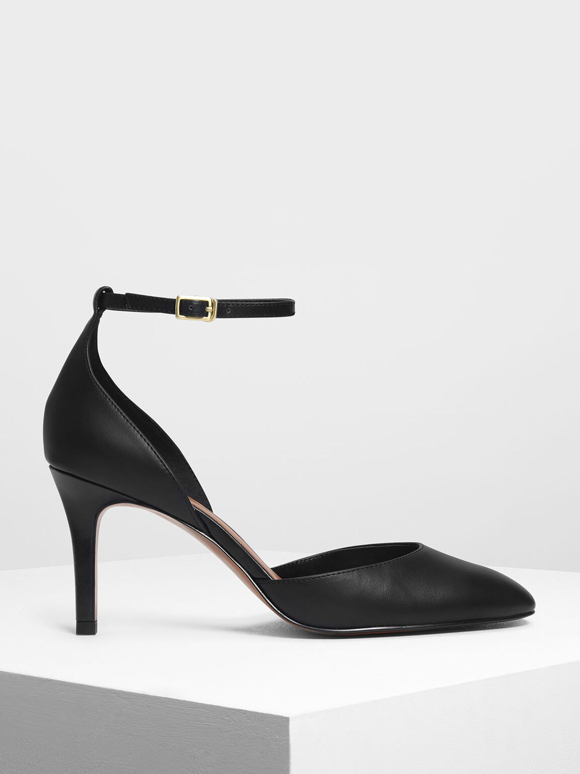 Ankle Strap Heels, Black, hi-res