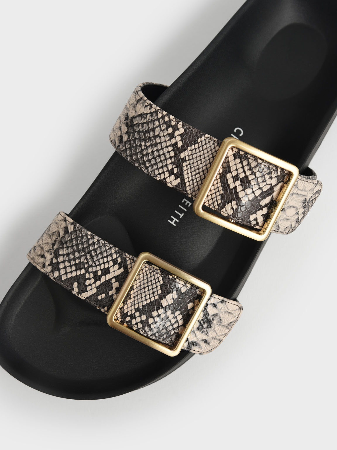 Snake Print Buckle Strap Slide Sandals, Animal Print Natural, hi-res