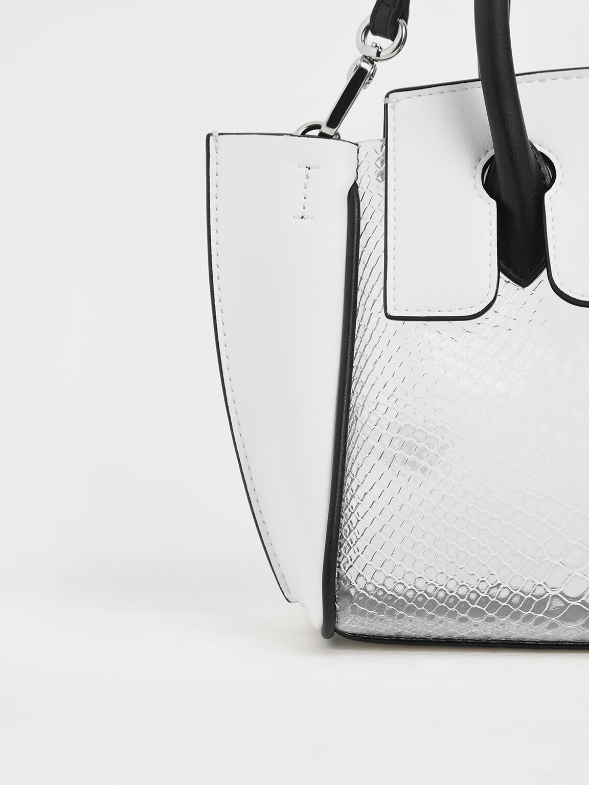 Metallic Snake Print Trapeze Bag, White, hi-res
