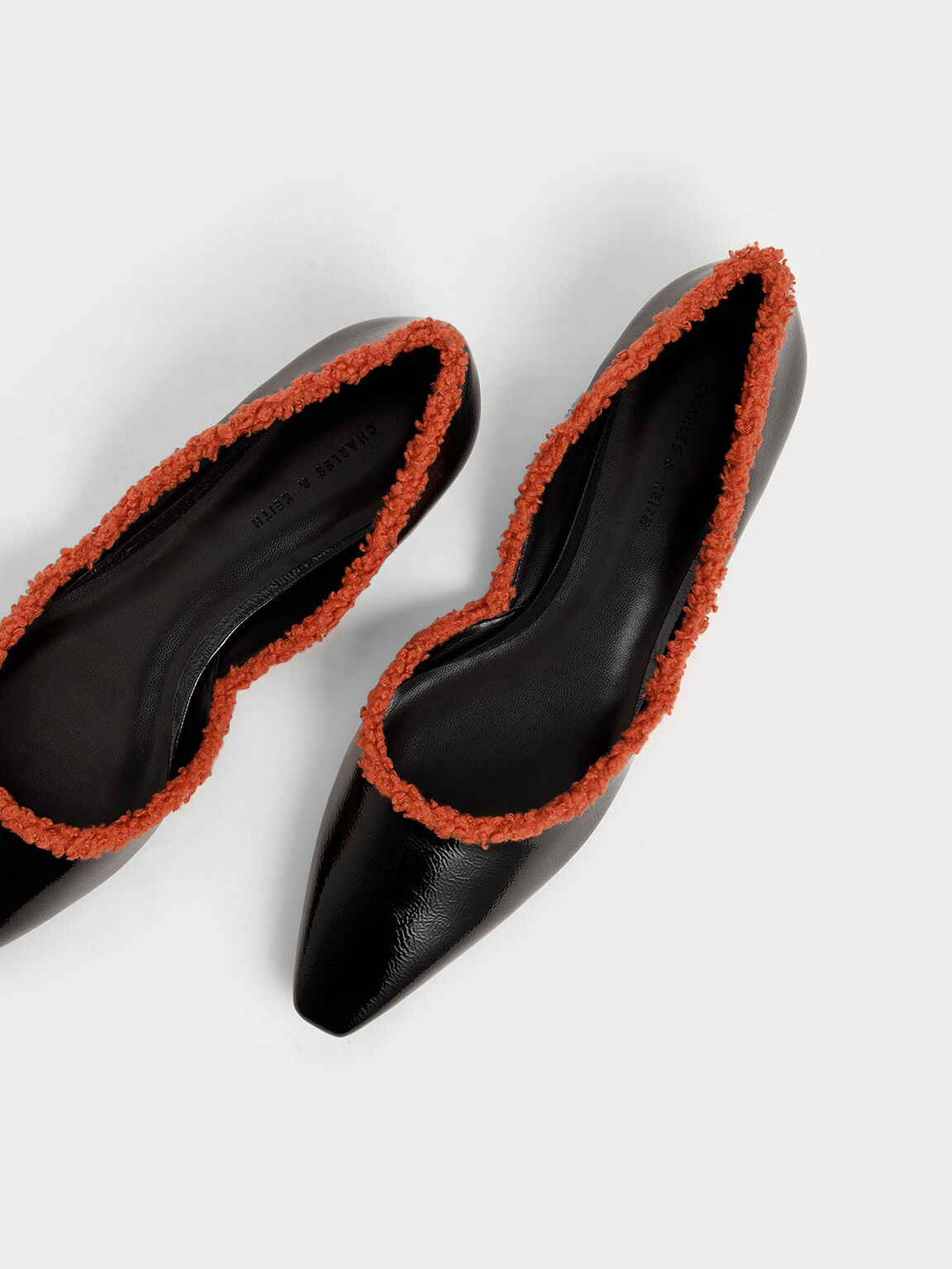 Textured Trim Patent D'Orsay Flats, Black, hi-res