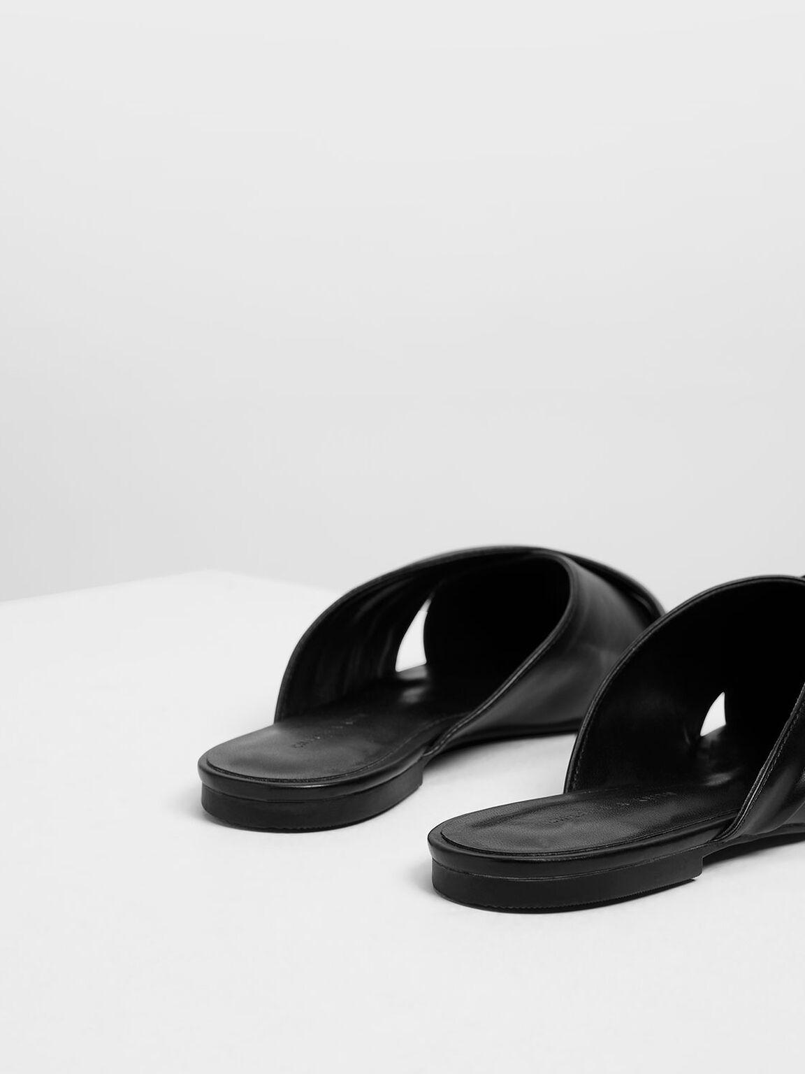 Ruched Peep Toe Sliders, Black, hi-res