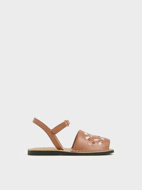 Girls' Embroidered Sandals, Nude