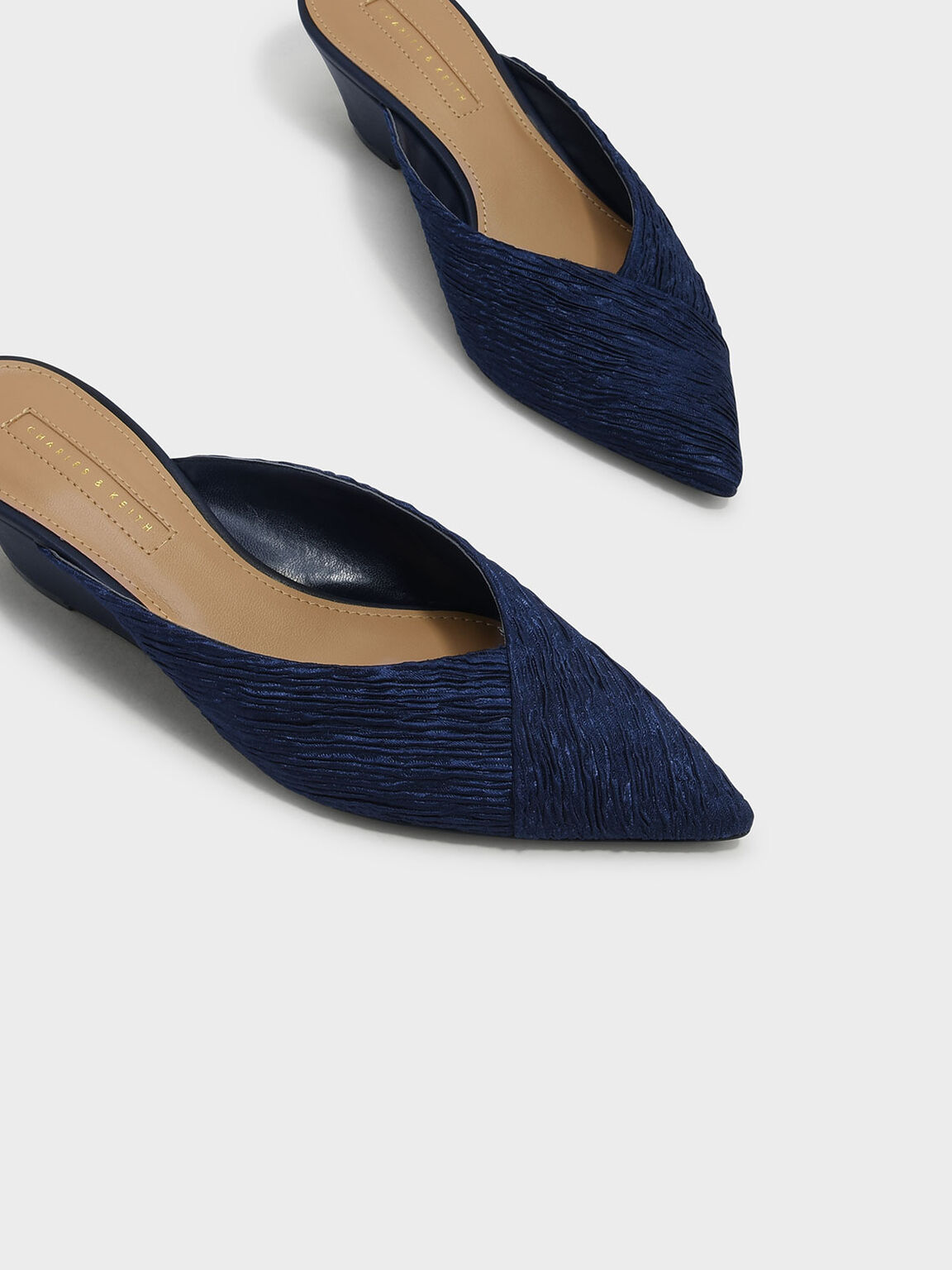 V Wedge Mules, Navy, hi-res