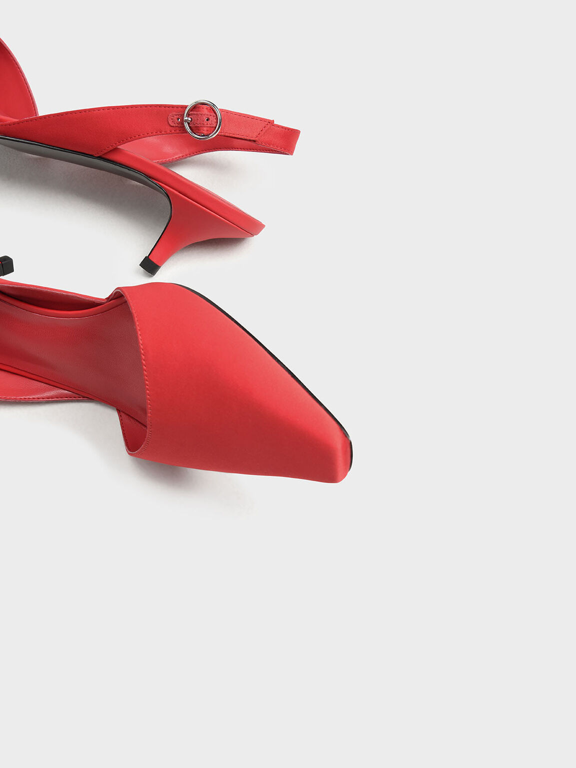 Satin Closed Toe Slingback Heels, Red, hi-res