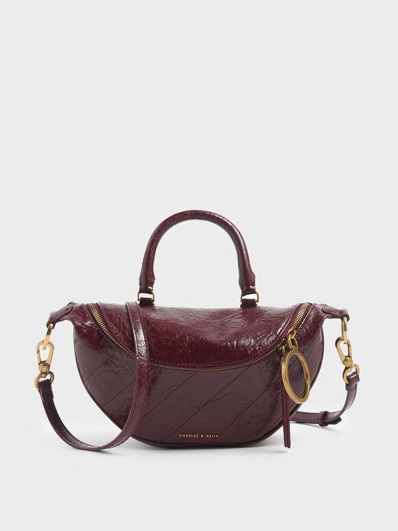 Wrinkled Effect Semi-Circle Crossbody Bag, Burgundy, hi-res