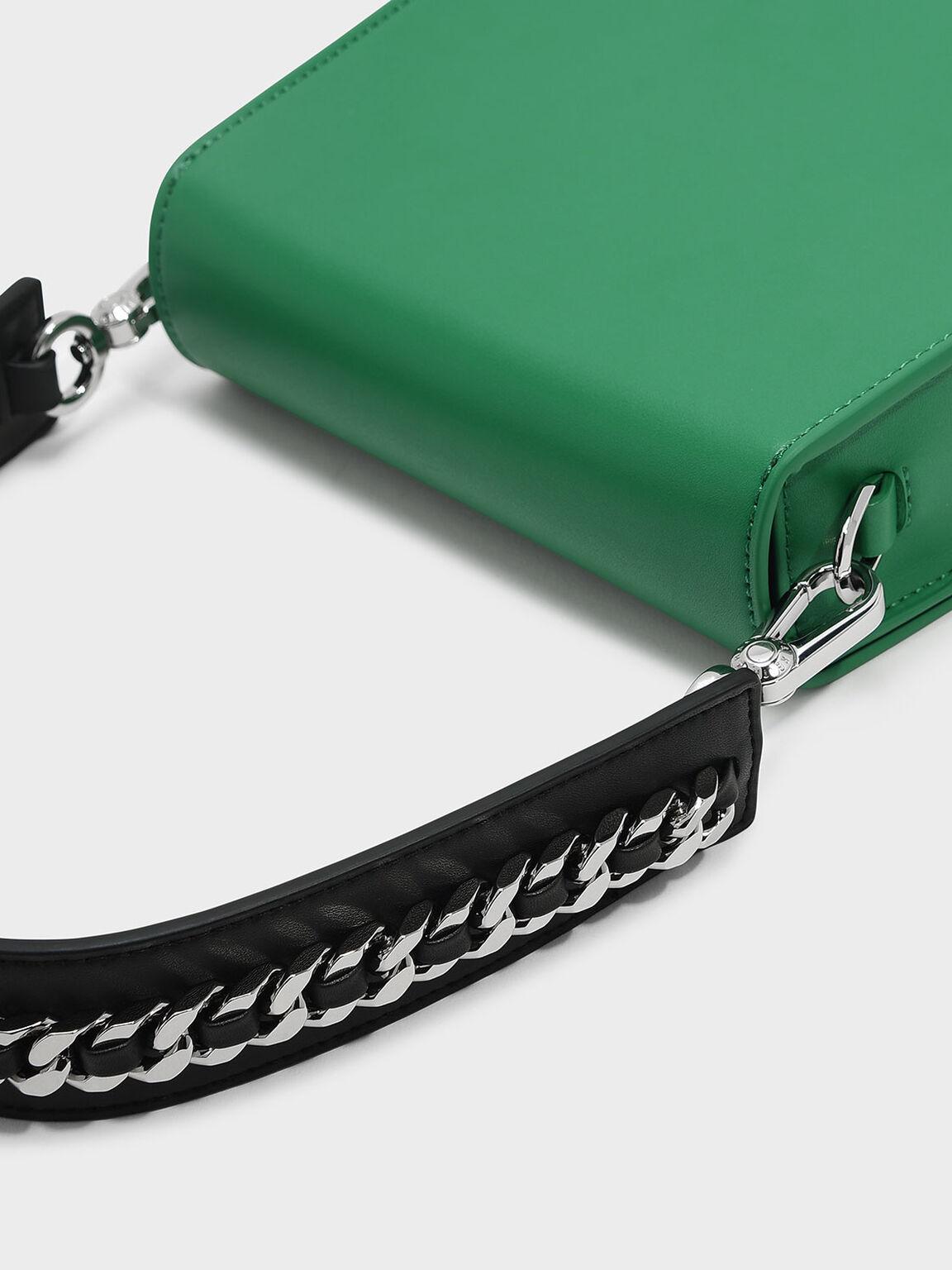 Front Flap Shoulder Bag, Green, hi-res