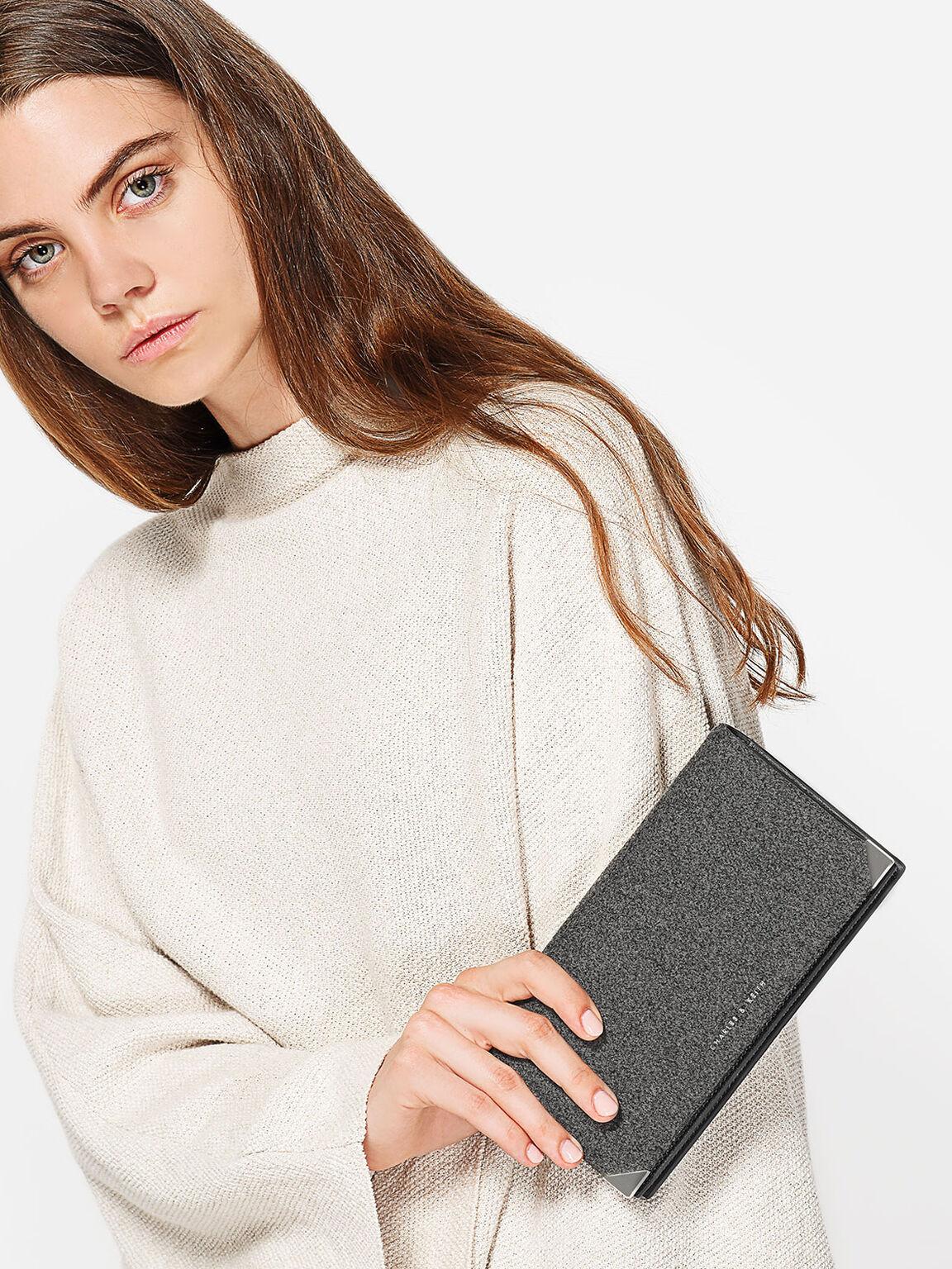 Metallic Tip Wallet, Grey, hi-res