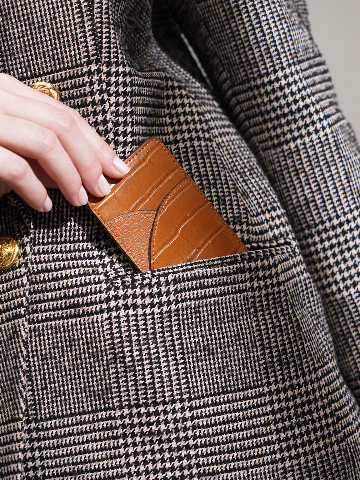 Croc-Effect Elongated Card Holder, Cognac, hi-res