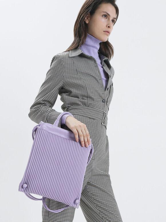 Textured Drawstring Backpack, Lilac, hi-res