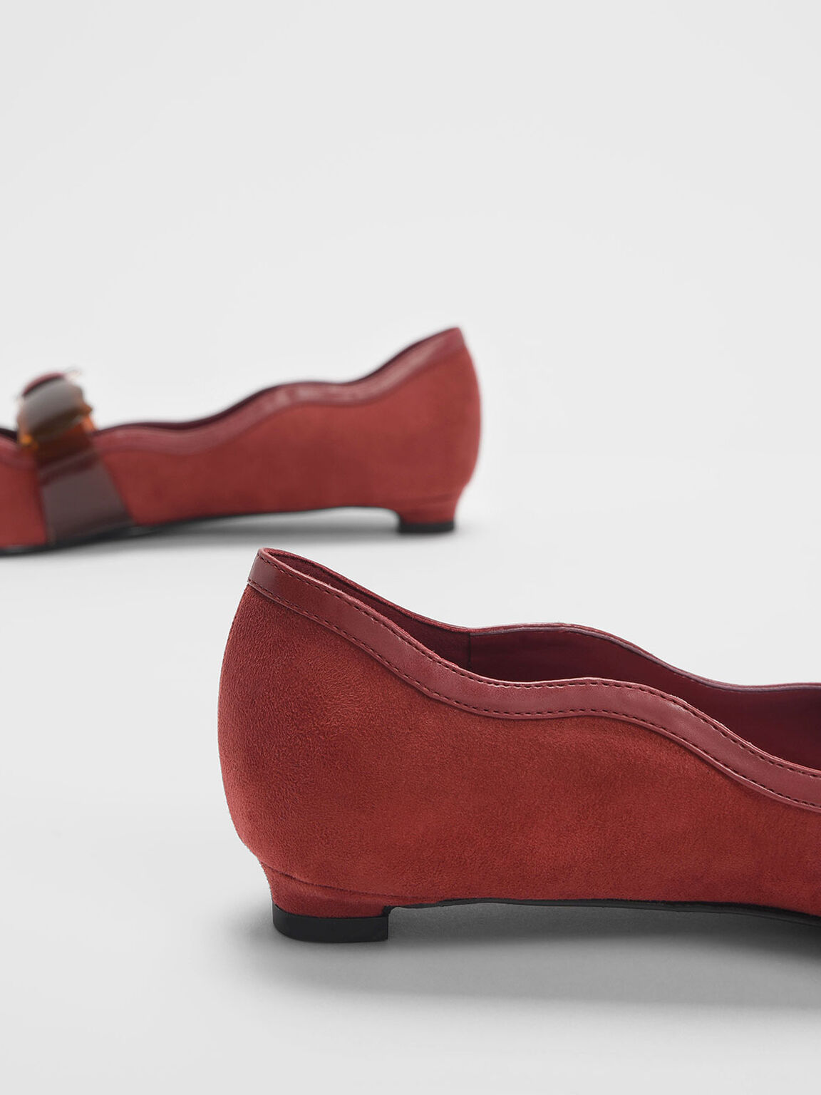 Clear Bow Textured Mary Jane Flats, Brick, hi-res