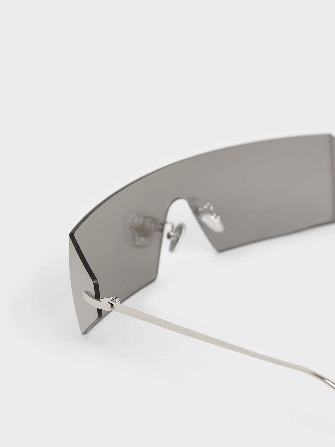 Rectangular Shield Sunglasses, Silver, hi-res