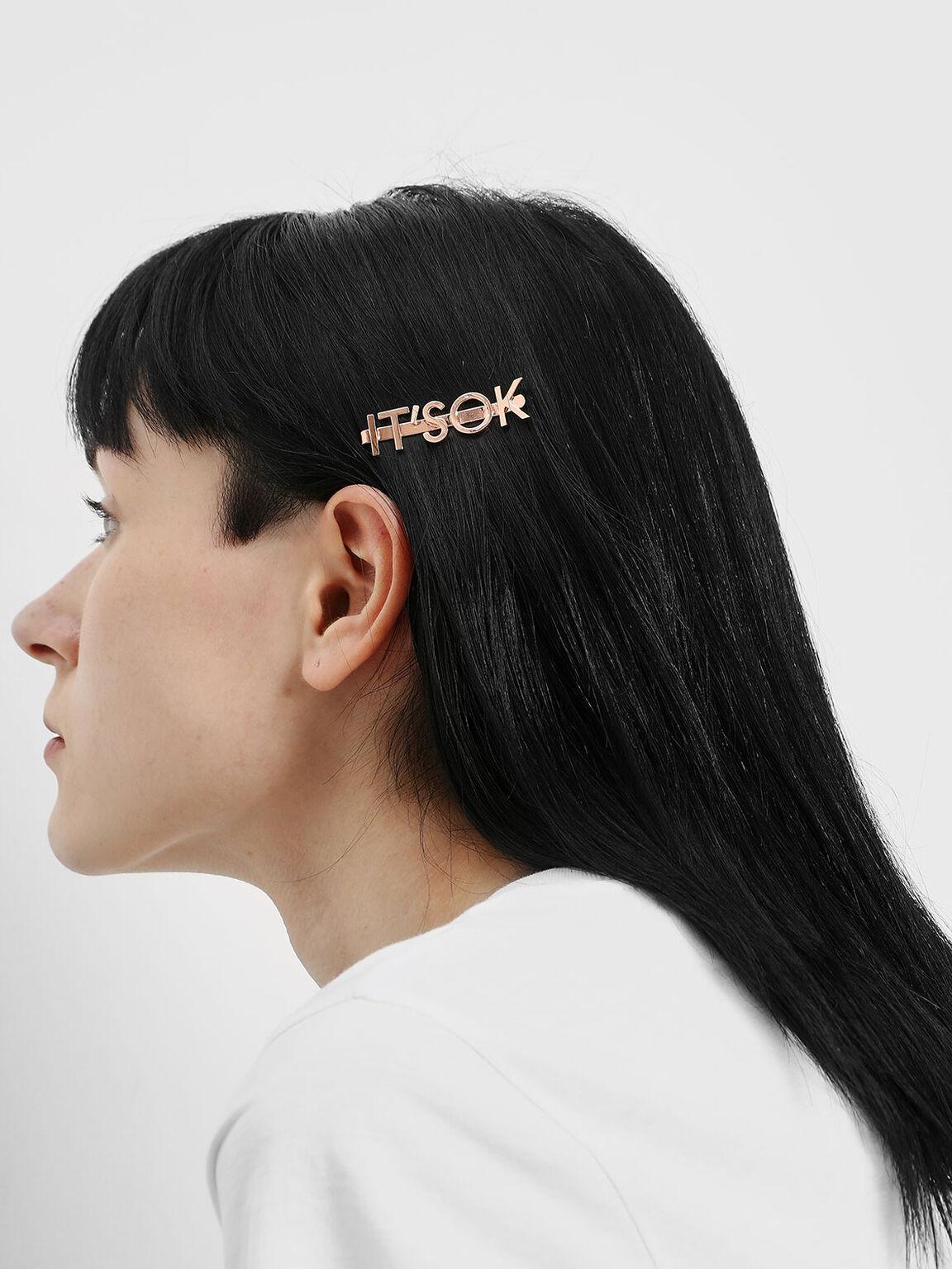 """IT'S OK"" Hair Clip, Rose Gold, hi-res"
