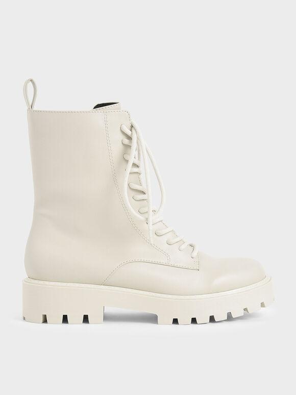 Lace Up Combat Boots, Chalk, hi-res