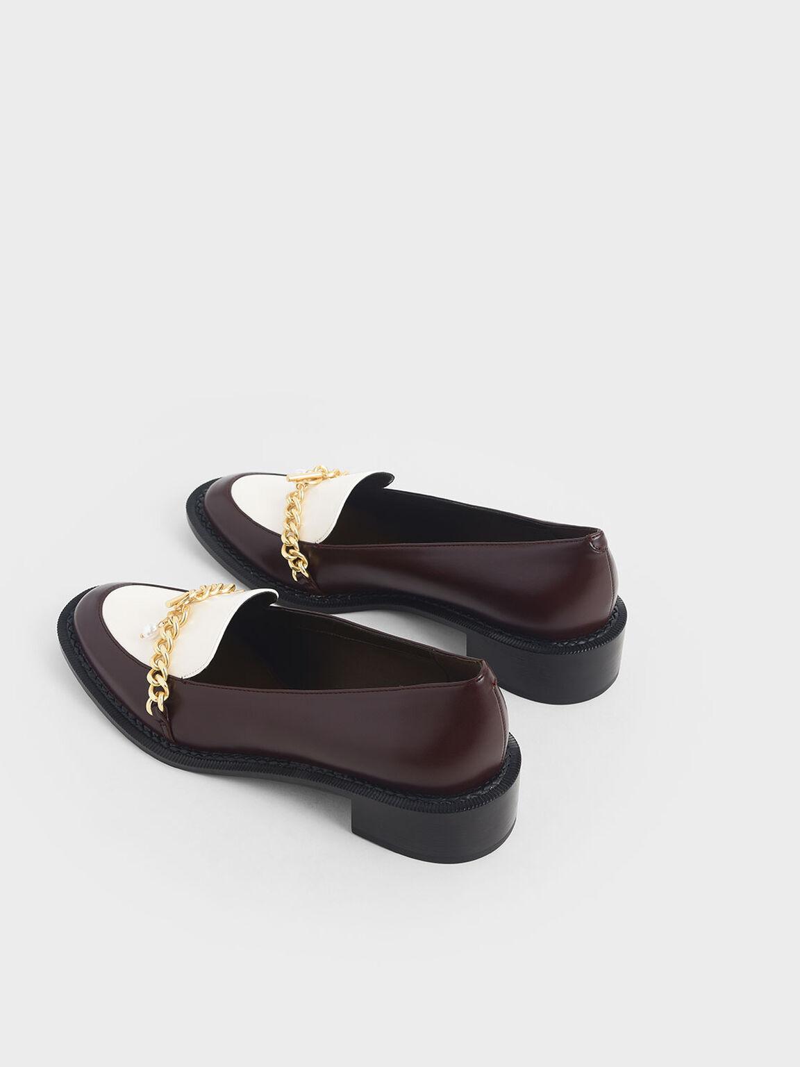 金屬鍊條樂福鞋, 棗紅色, hi-res