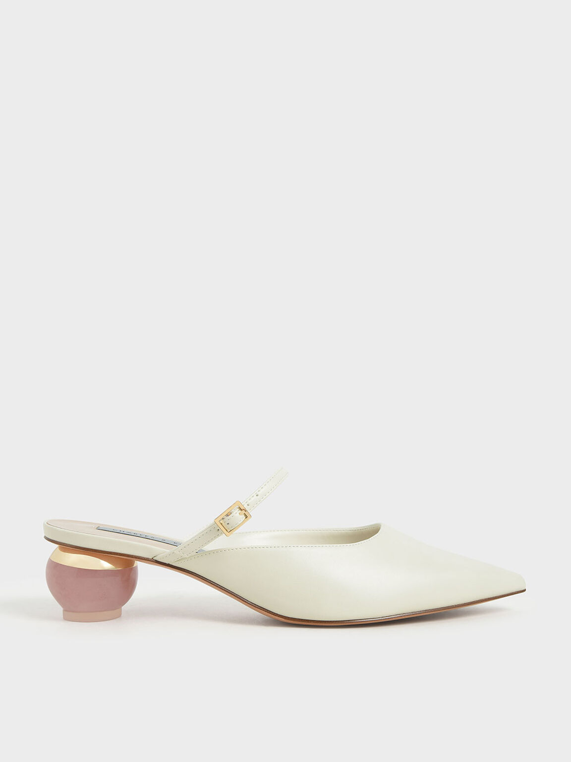 Sculptural Heel Pointed Toe Mules, Chalk, hi-res