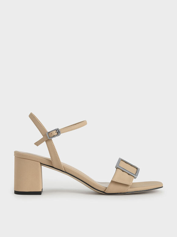 Buckle Strap Sandals, Beige, hi-res
