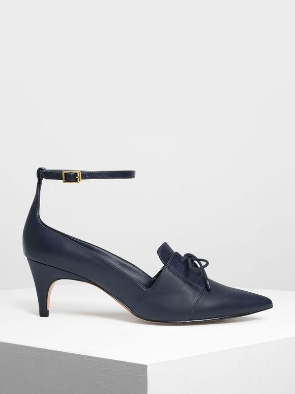 繞踝牛津低跟鞋, 深藍色, hi-res