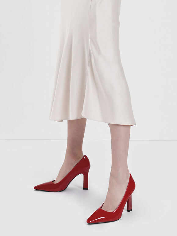 Patent Blade Heel Pumps, Red, hi-res