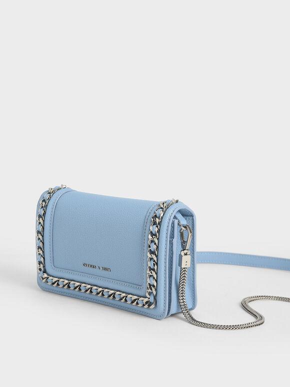 Chain-Trimmed Clutch, Denim Blue, hi-res