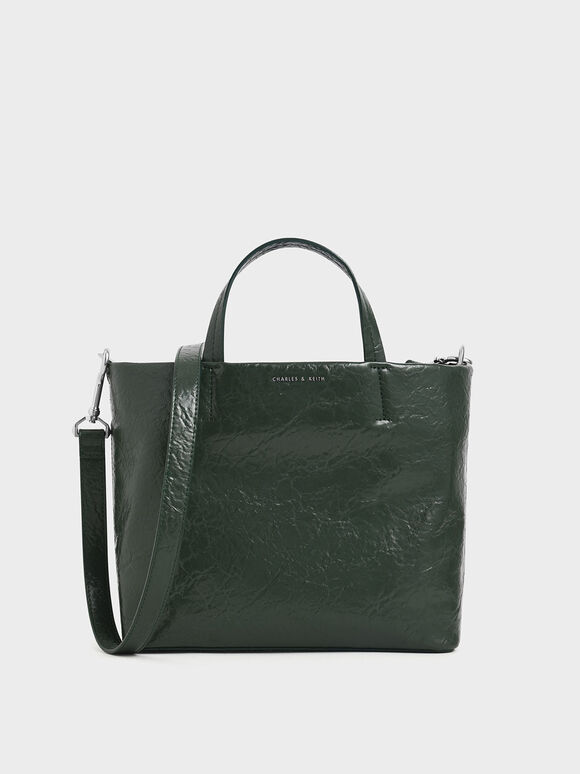 Wrinkled Effect Short Strap Tote Bag, Dark Green, hi-res