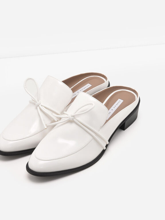 Almond Toe Knot Mules, White