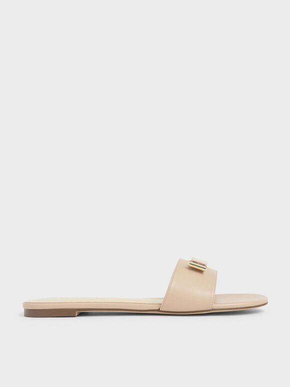 Metal Bow Slide Sandals, Nude, hi-res