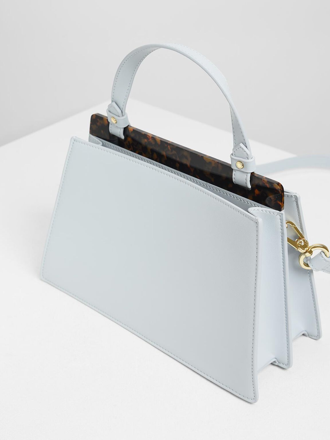 Trapezoid Top Handle Bag, Light Blue, hi-res