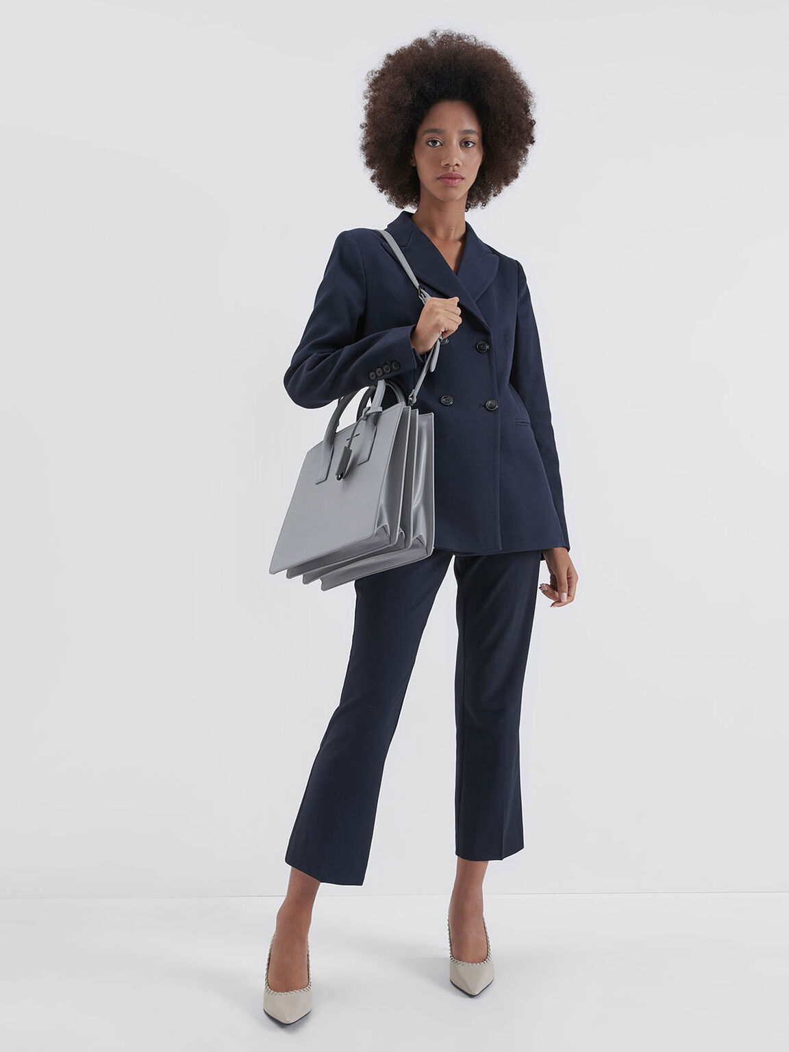 Large Structured Tote Bag, Grey, hi-res