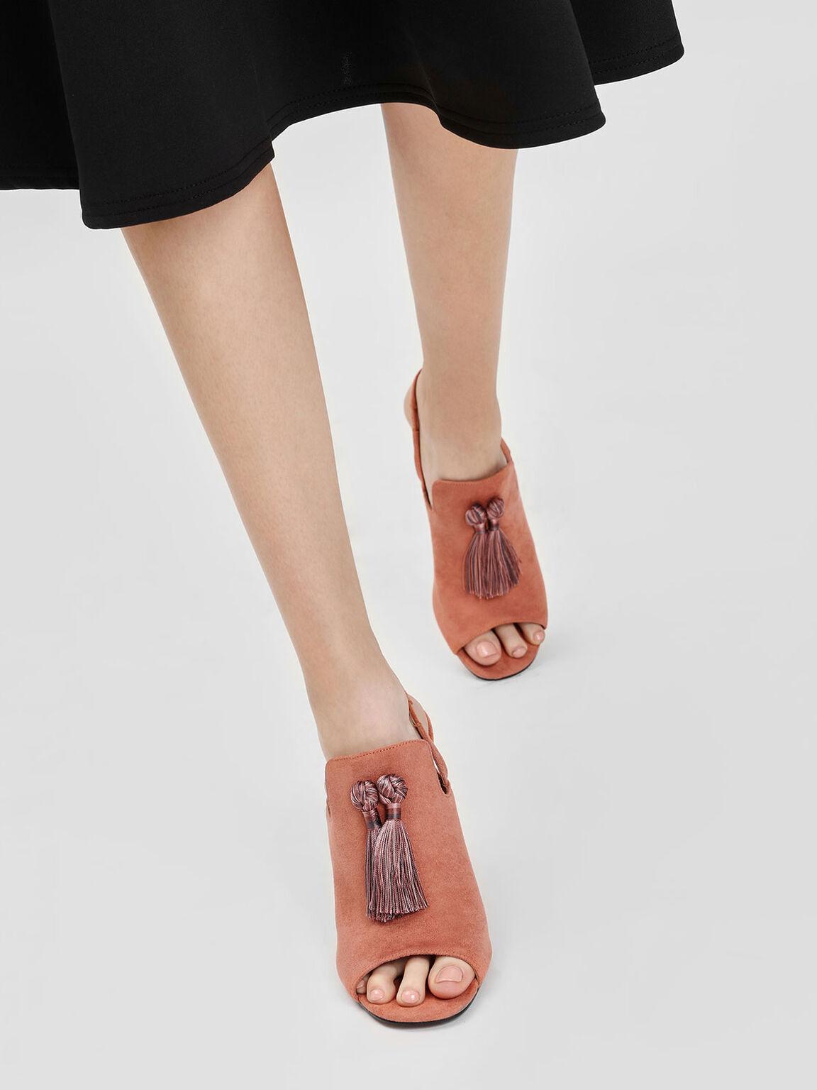 Textured Tassel Slingback Heels, Brick, hi-res
