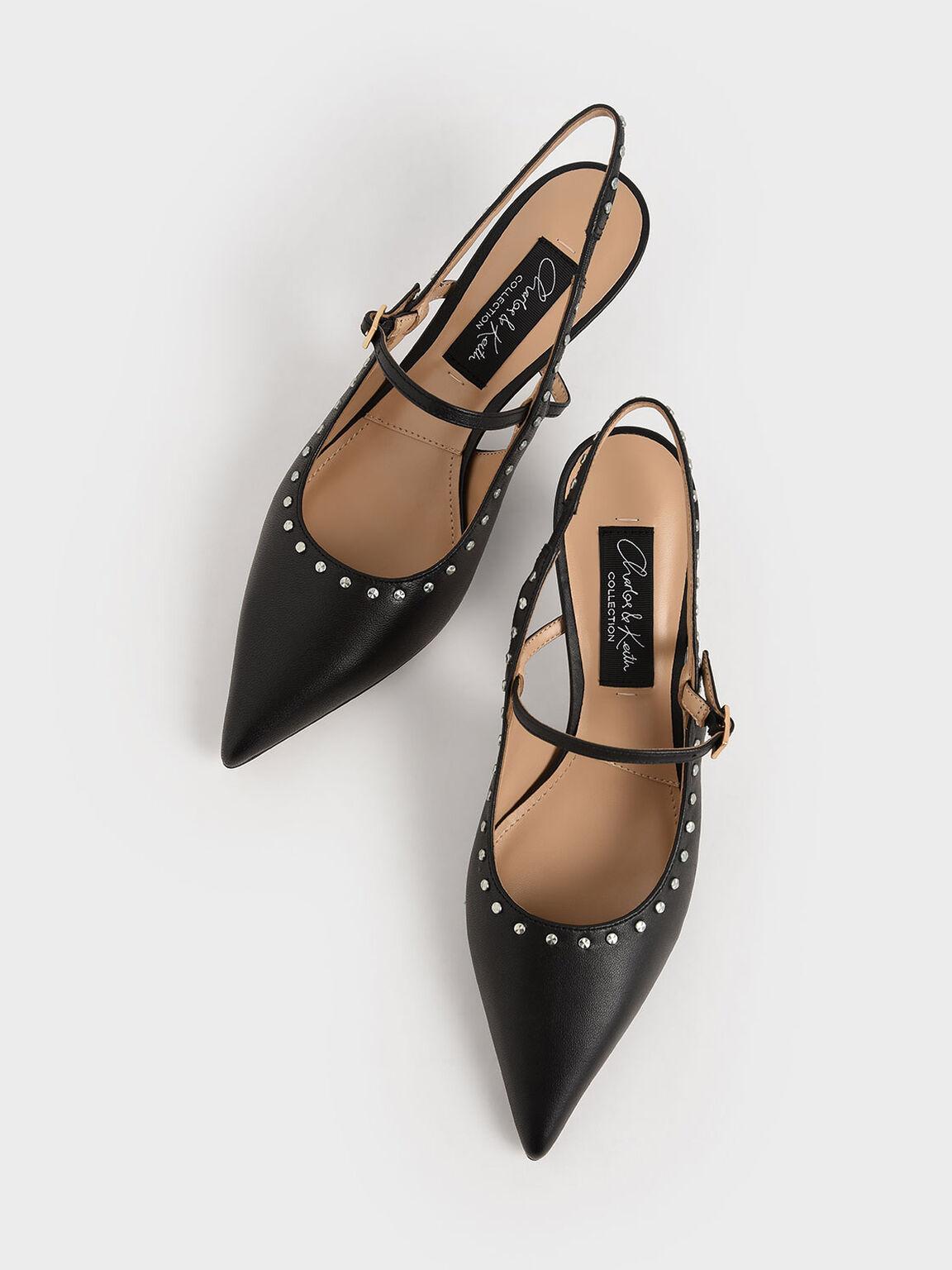Studded Leather Slingback Pumps, Black, hi-res
