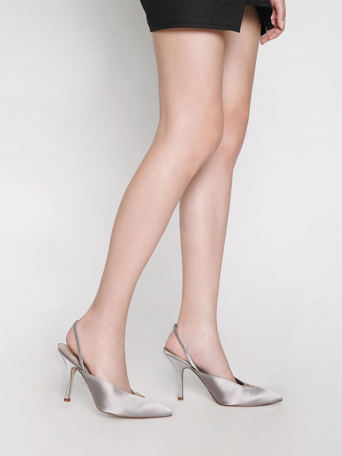 Satin Embellished Slingback Heels, Grey, hi-res