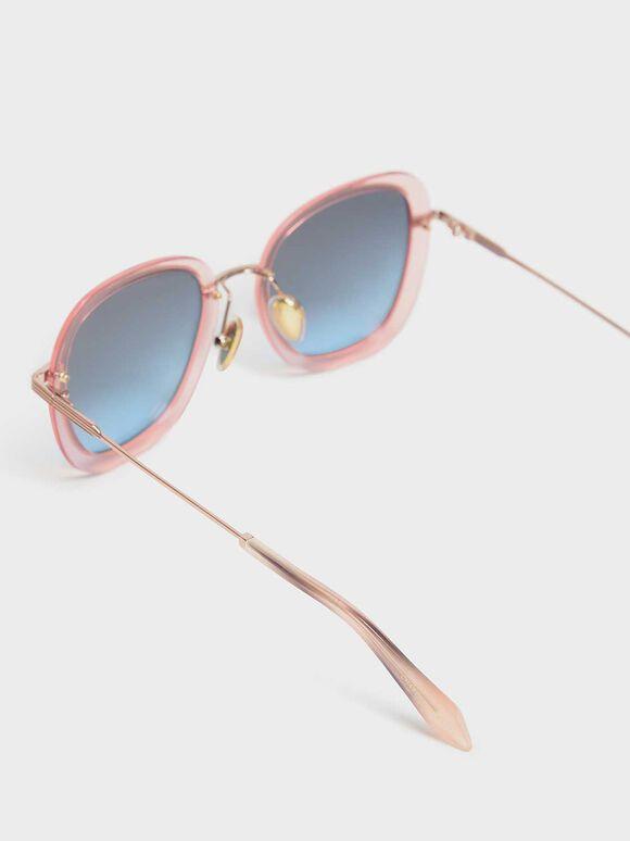 Double Lens Sunglasses, Rose Gold, hi-res