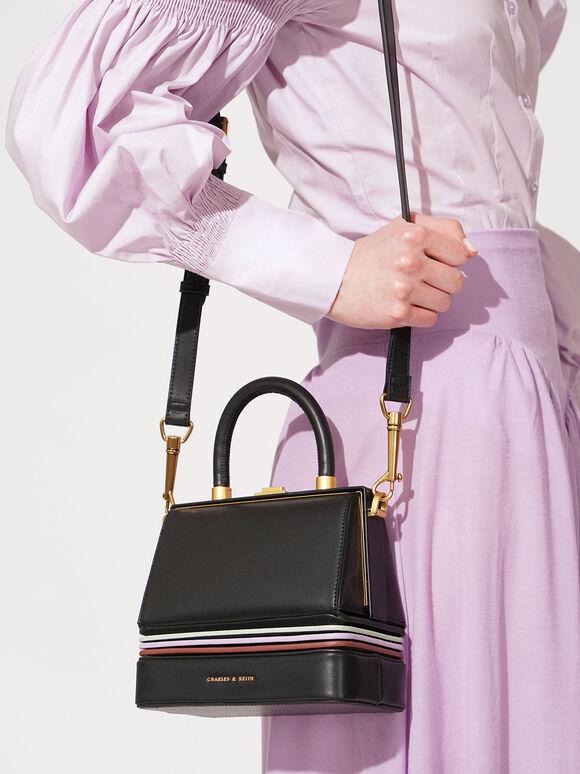 Accordion Bag, Black Textured, hi-res