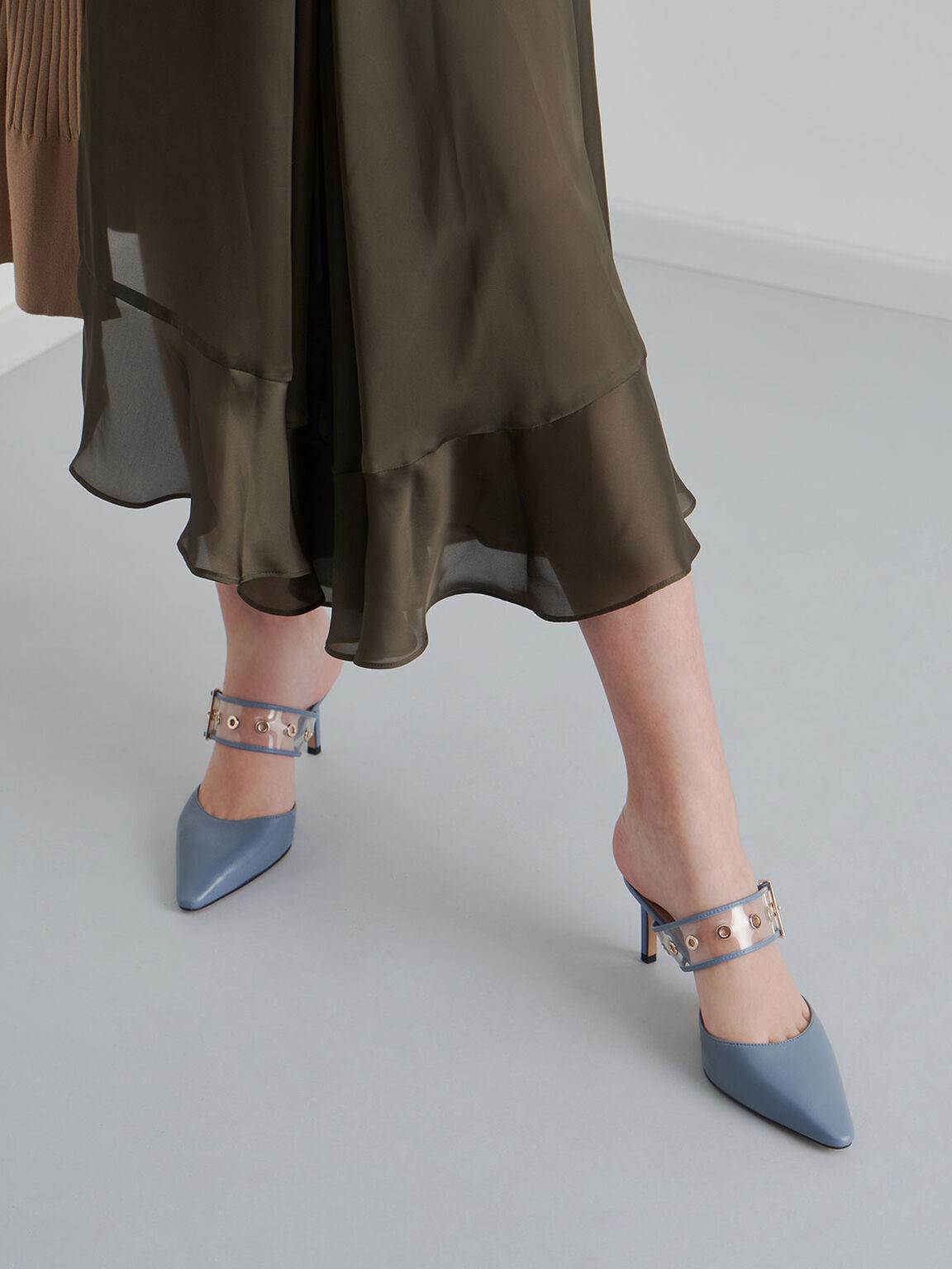 Leather Eyelet-Embellished Mules, Blue, hi-res
