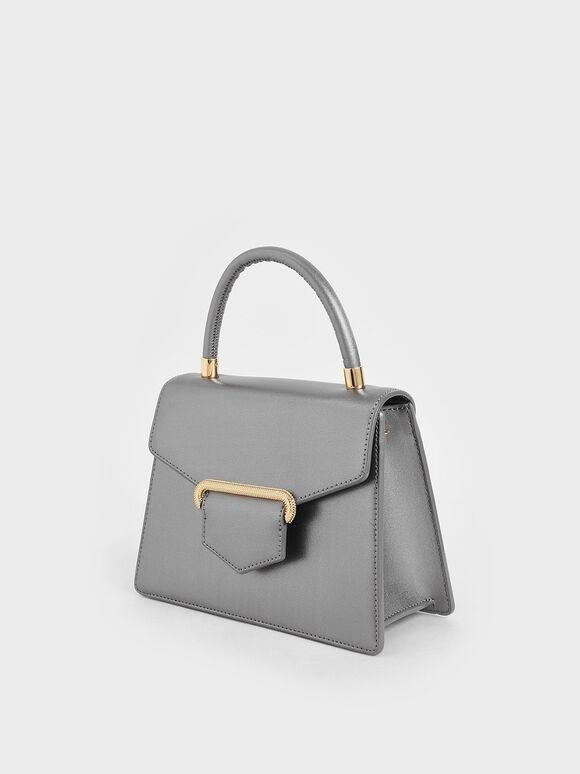 Leather Metallic Accent Handbag, Silver, hi-res