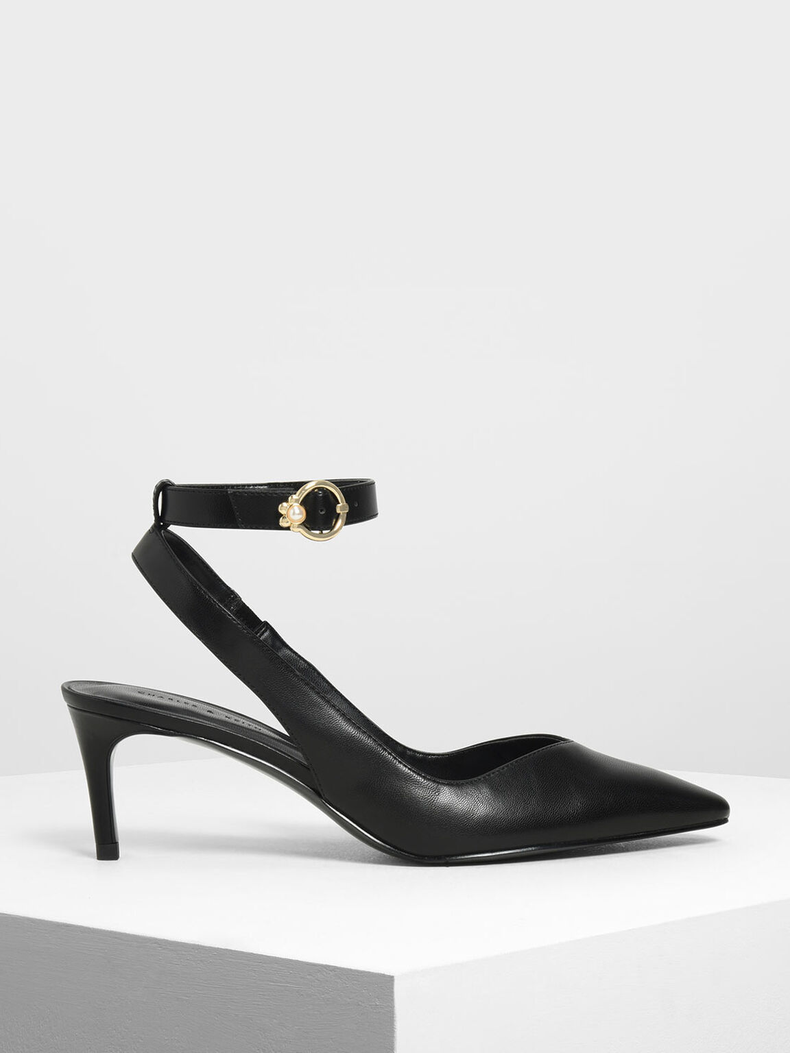 Embellished Ankle Strap Pumps, Black, hi-res