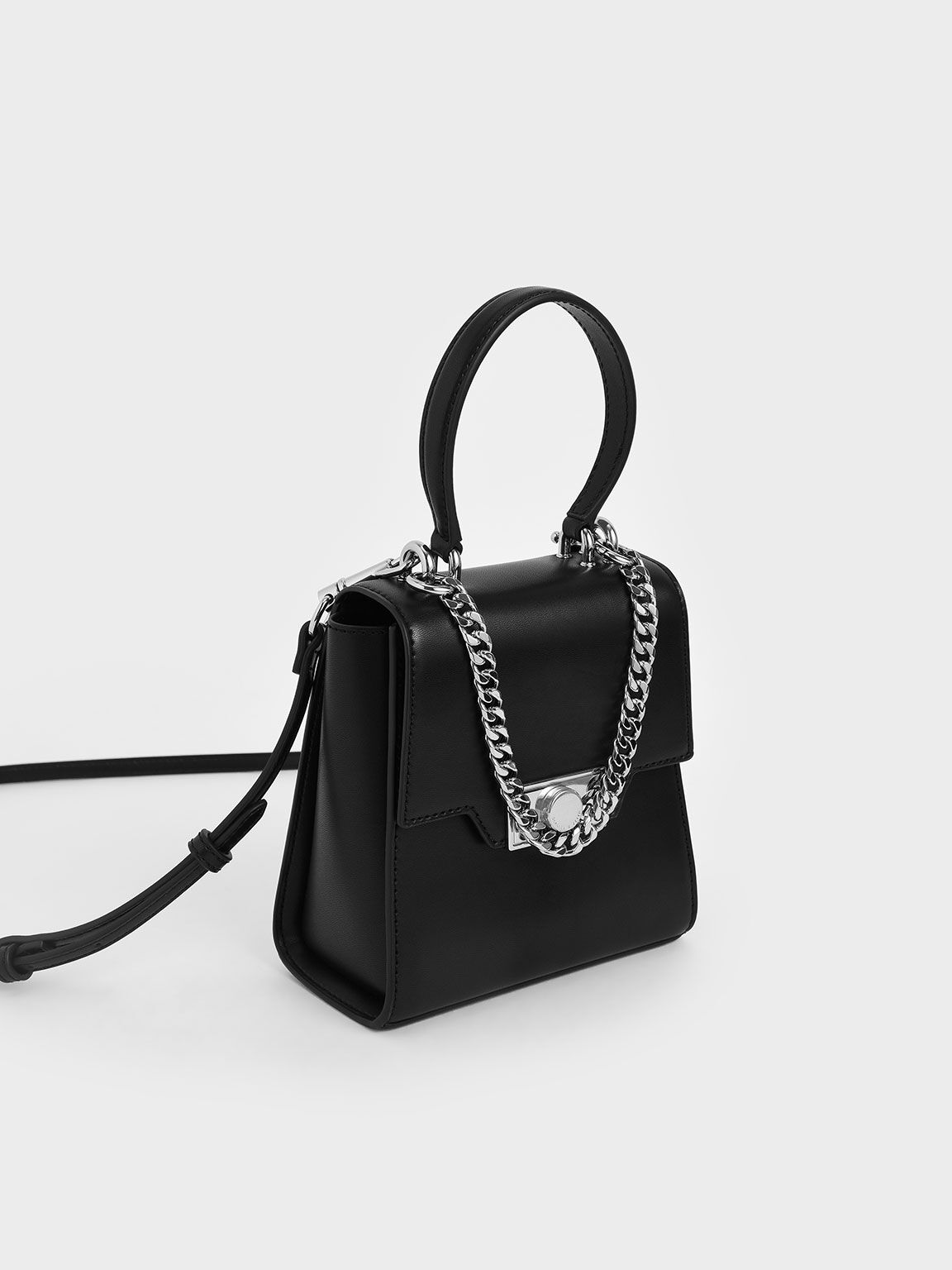 Leather Trapeze Bag, Black, hi-res