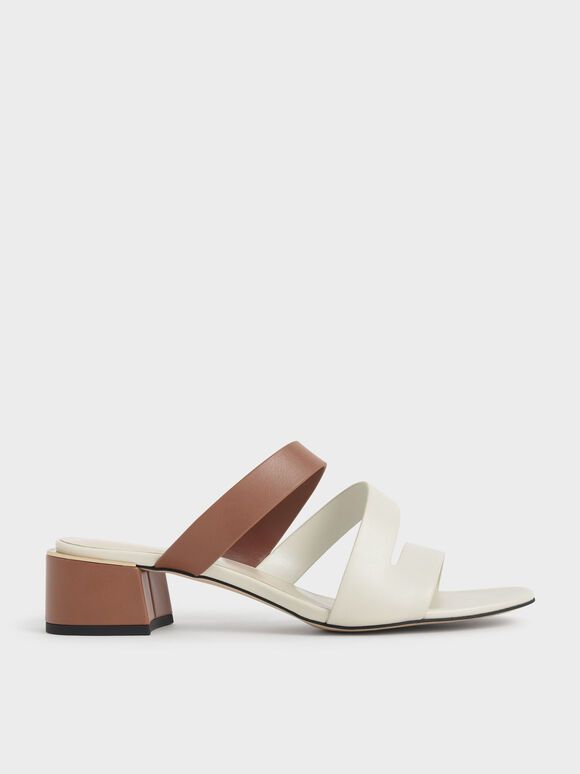Molly Chiang Collection: Strappy Asymmetric Mules, Tan, hi-res
