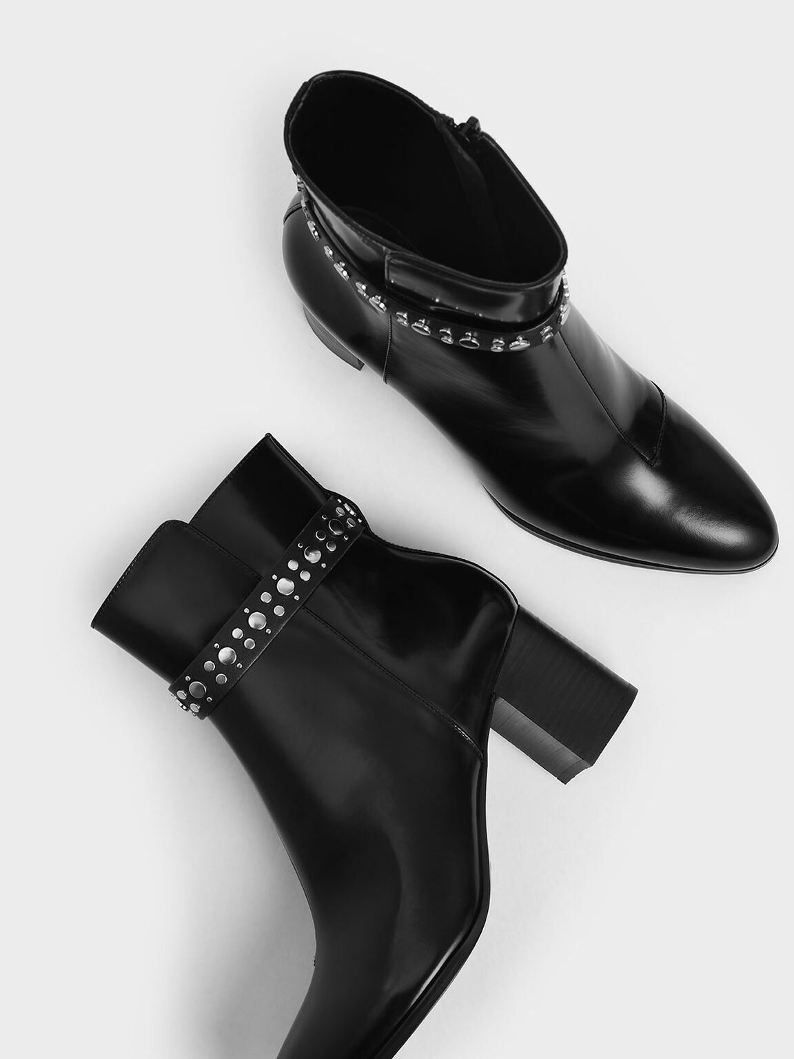 Leather Embellished Ankle Boots, Black, hi-res