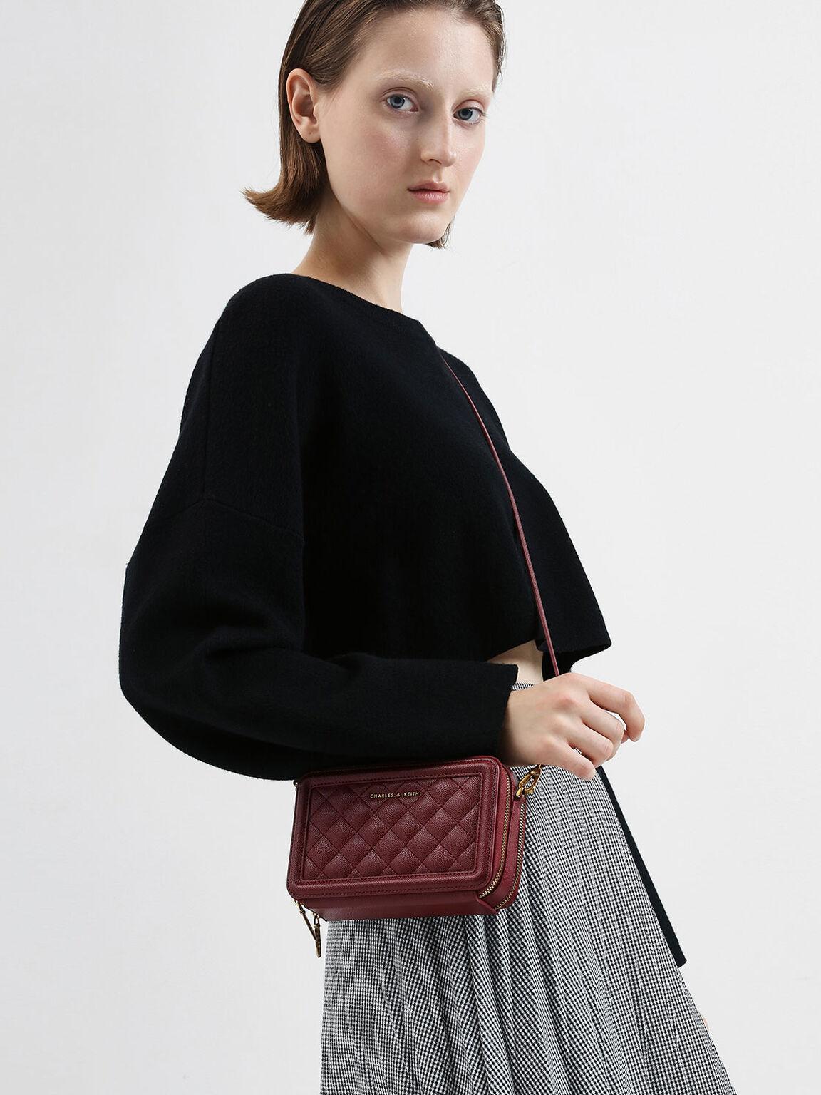 Quilted Zip Around Long Wallet, Burgundy, hi-res