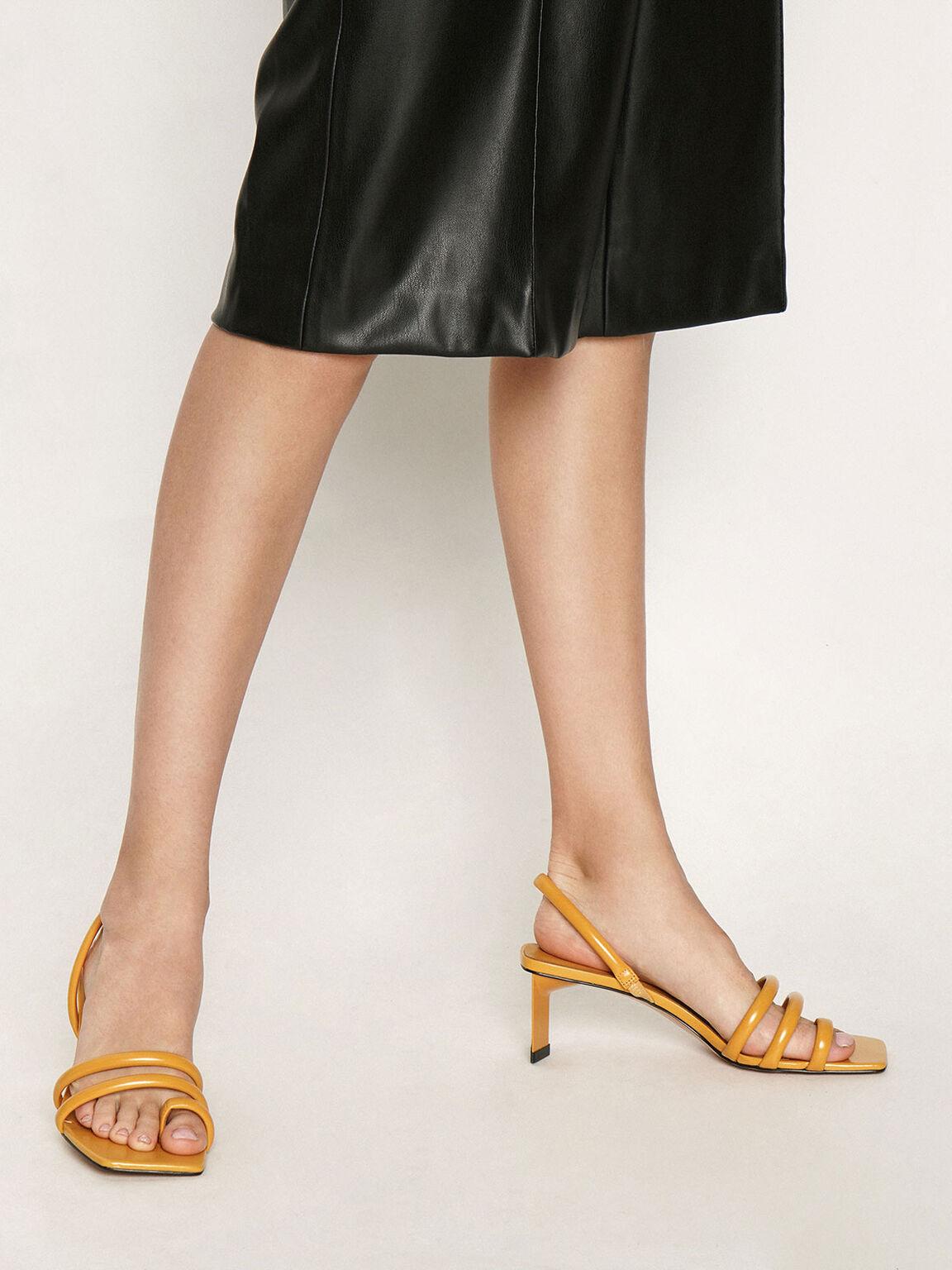 多帶高跟涼鞋, 黃色, hi-res