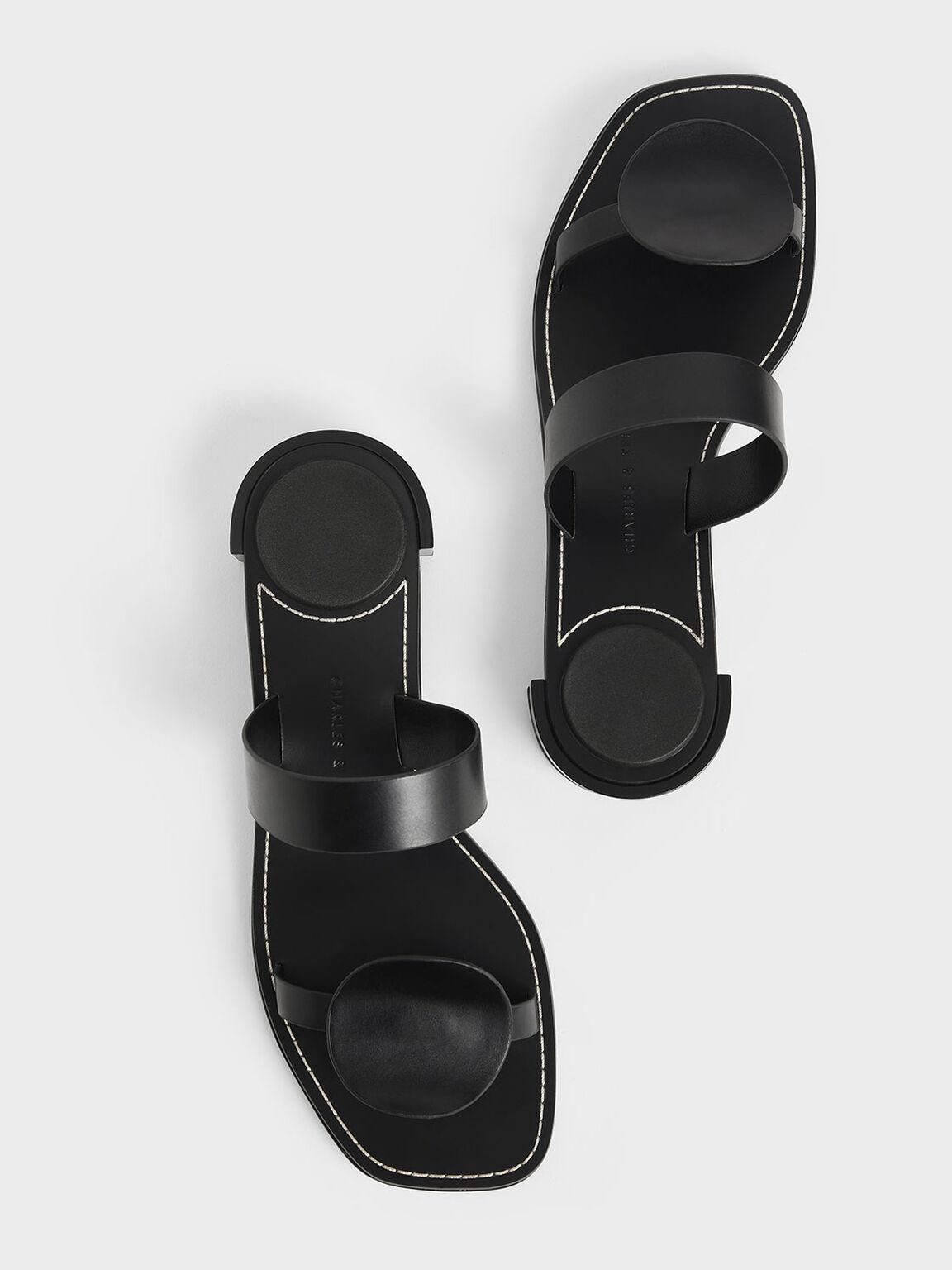 Double Strap Mules, Black, hi-res